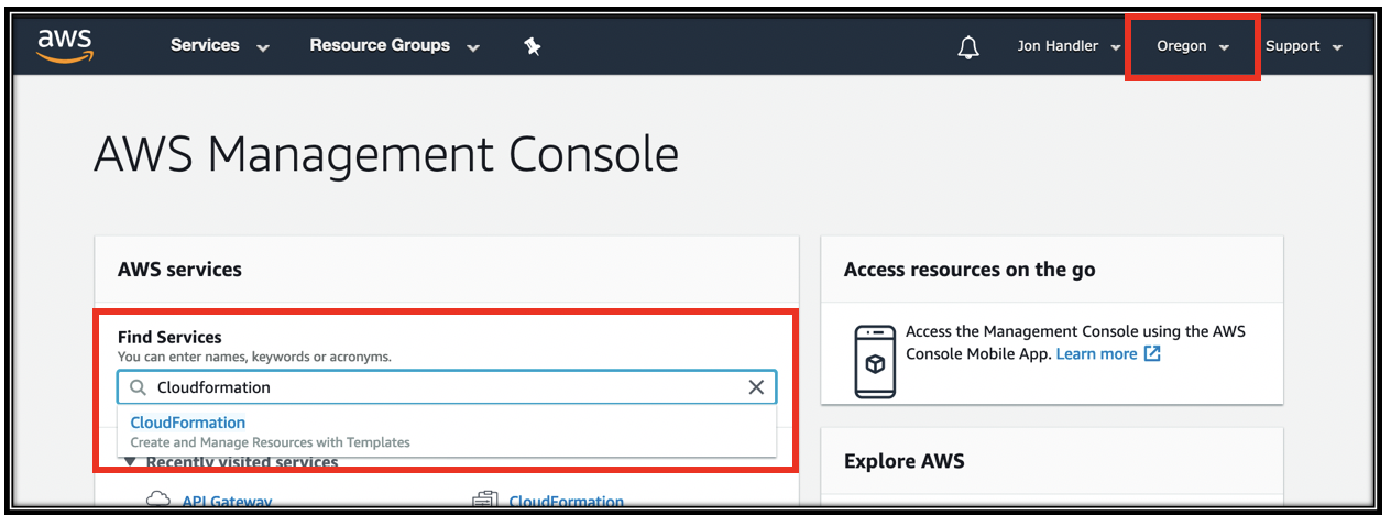 AWS console main window searching for CloudFormation